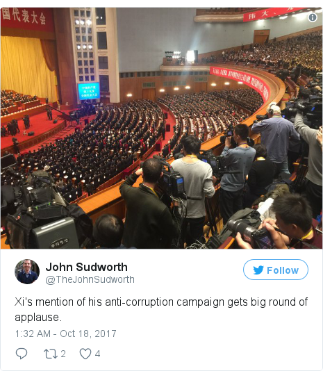 Twitter post by @TheJohnSudworth: Xi's mention of his anti-corruption campaign gets big round of applause.