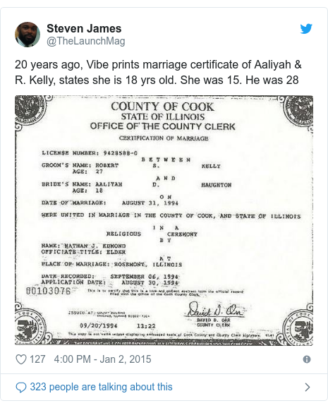 Twitter post by @TheLaunchMag: 20 years ago, Vibe prints marriage certificate of Aaliyah & R. Kelly, states she is 18 yrs old. She was 15. He was 28