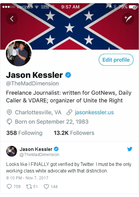 Twitter post by @TheMadDimension: Looks like I FINALLY got verified by Twitter. I must be the only working class white advocate with that distinction.