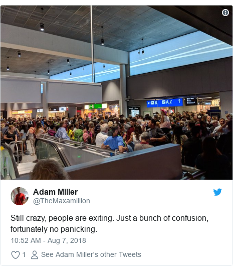 Twitter post by @TheMaxamillion: Still crazy, people are exiting. Just a bunch of confusion, fortunately no panicking.