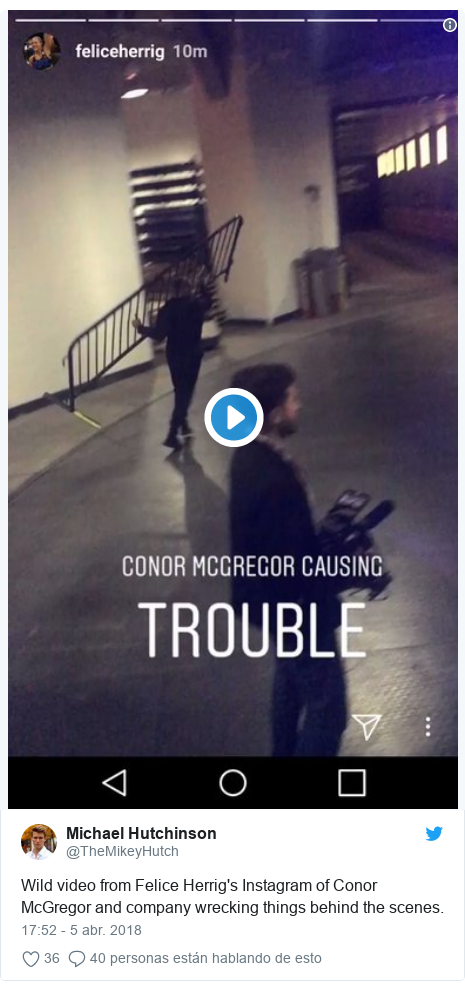 Publicación de Twitter por @TheMikeyHutch: Wild video from Felice Herrig's Instagram of Conor McGregor and company wrecking things behind the scenes.