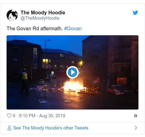 Twitter post by @TheMoodyHoodie: The Govan Rd aftermath. #Govan