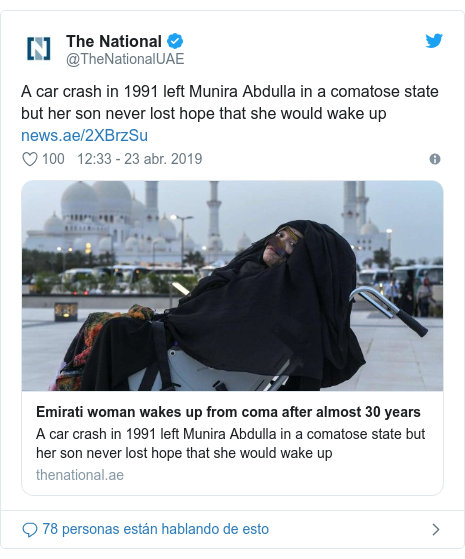 Publicación de Twitter por @TheNationalUAE: A car crash in 1991 left Munira Abdulla in a comatose state but her son never lost hope that she would wake up