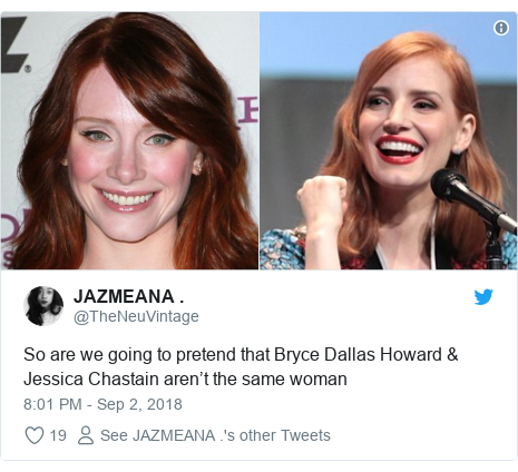 Twitter post by @TheNeuVintage: So are we going to pretend that Bryce Dallas Howard & Jessica Chastain aren't the same woman