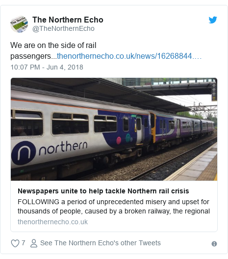 Twitter post by @TheNorthernEcho: We are on the side of rail passengers...