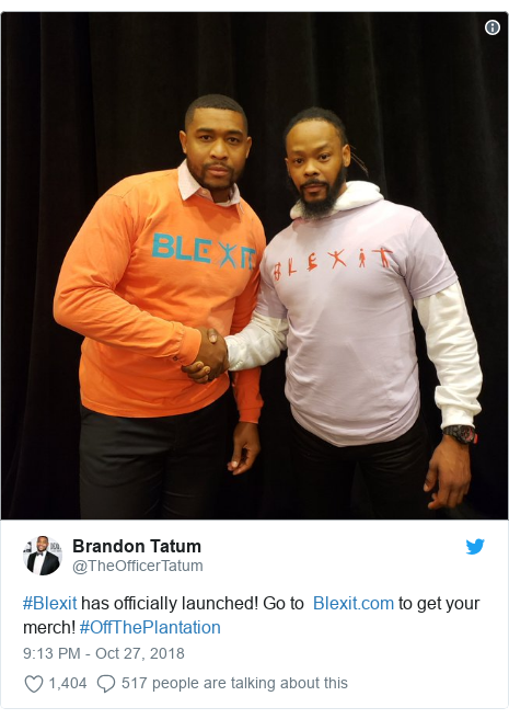 Twitter post by @TheOfficerTatum: #Blexit has officially launched! Go to   to get your merch! #OffThePlantation