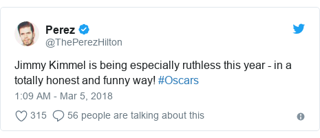 Twitter post by @ThePerezHilton: Jimmy Kimmel is being especially ruthless this year - in a totally honest and funny way! #Oscars