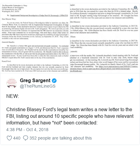 Twitter post by @ThePlumLineGS: NEW Christine Blasey Ford's legal team writes a new letter to the FBI, listing out around 10 specific people who have relevant information, but have *not* been contacted