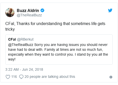 Twitter post by @TheRealBuzz: CFal, Thanks for understanding that sometimes life gets tricky