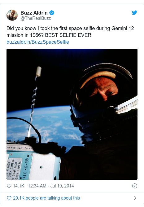 Twitter post by @TheRealBuzz: Did you know I took the first space selfie during Gemini 12 mission in 1966? BEST SELFIE EVER
