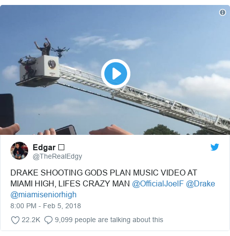 Twitter post by @TheRealEdgy: DRAKE SHOOTING GODS PLAN MUSIC VIDEO AT MIAMI HIGH, LIFES CRAZY MAN @OfficialJoelF @Drake @miamiseniorhigh