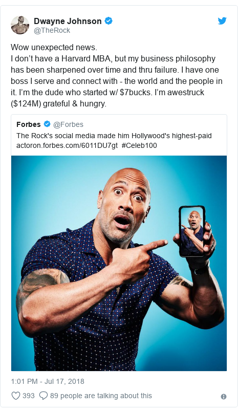 Twitter post by @TheRock: Wow unexpected news. I don't have a Harvard MBA, but my business philosophy has been sharpened over time and thru failure. I have one boss I serve and connect with - the world and the people in it. I'm the dude who started w/ $7bucks. I'm awestruck ($124M) grateful & hungry.