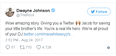 Twitter post by @TheRock