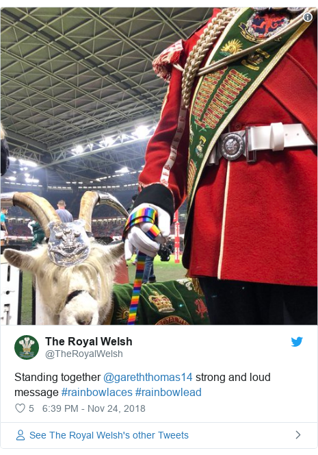 Twitter post by @TheRoyalWelsh: Standing together @gareththomas14 strong and loud message #rainbowlaces #rainbowlead