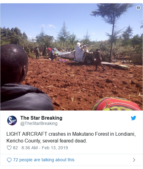 Twitter ubutumwa bwa @TheStarBreaking: LIGHT AIRCRAFT crashes in Makutano Forest in Londiani, Kericho County, several feared dead.
