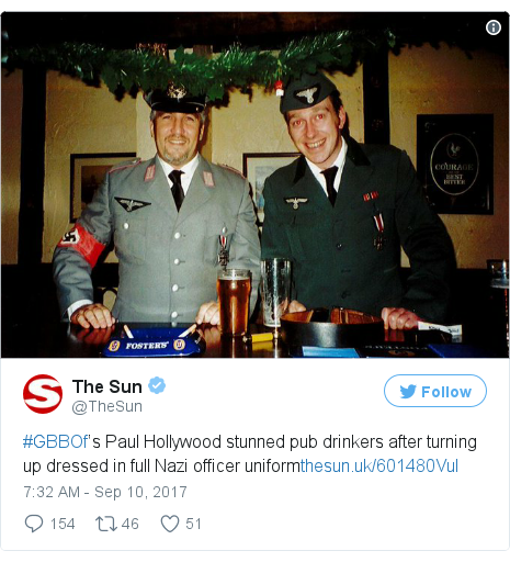 Twitter post by @TheSun: #GBBOf's Paul Hollywood stunned pub drinkers after turning up dressed in full Nazi officer uniformhttps //t.co/sJr27CcI5X pic.twitter.com/MsCaOKQvdZ
