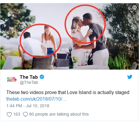 Twitter post by @TheTab: These two videos prove that Love Island is actually staged