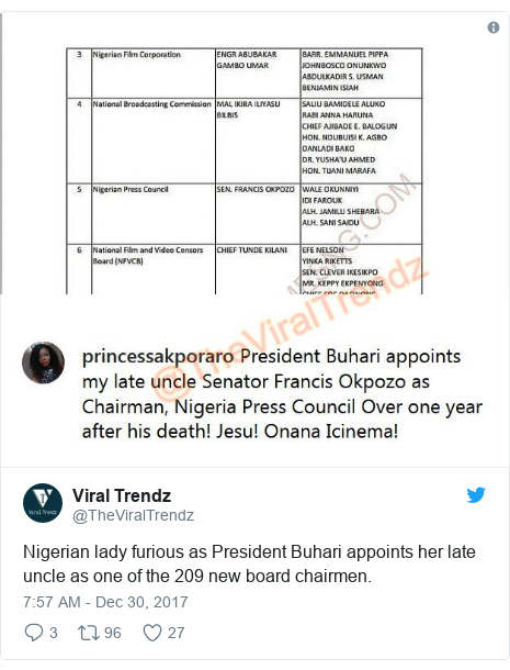 Twitter post by @TheViralTrendz: Nigerian lady furious as President Buhari appoints her late uncle as one of the 209 new board chairmen.