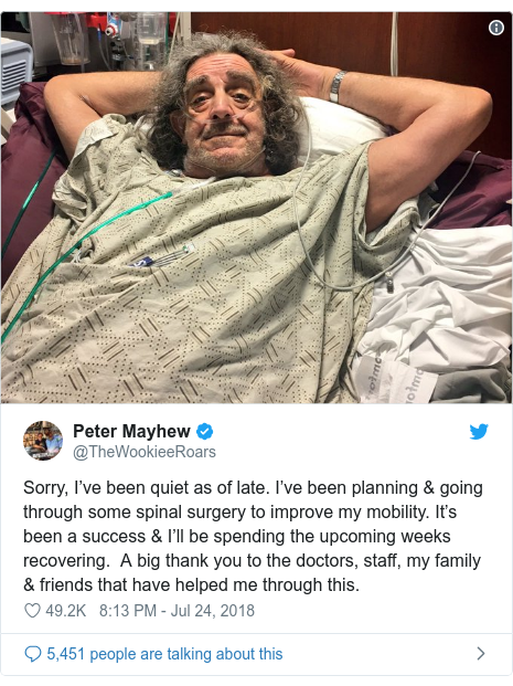 Twitter post by @TheWookieeRoars: Sorry, I've been quiet as of late. I've been planning & going through some spinal surgery to improve my mobility. It's been a success & I'll be spending the upcoming weeks recovering.  A big thank you to the doctors, staff, my family & friends that have helped me through this.