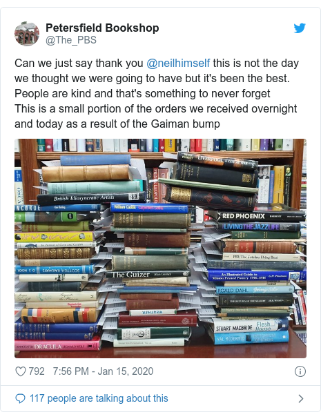 Twitter post by @The_PBS: Can we just say thank you @neilhimself this is not the day we thought we were going to have but it's been the best. People are kind and that's something to never forgetThis is a small portion of the orders we received overnight and today as a result of the Gaiman bump