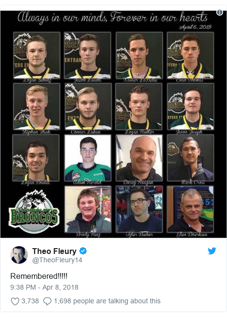 Twitter post by @TheoFleury14: Remembered!!!!!