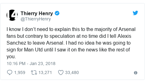 Twitter post by @ThierryHenry: I know I don't need to explain this to the majority of Arsenal fans but contrary to speculation at no time did I tell Alexis Sanchez to leave Arsenal. I had no idea he was going to sign for Man Utd until I saw it on the news like the rest of you.