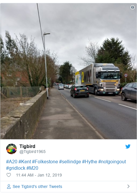 Twitter post by @Tigbird1965: #A20 #Kent #Folkestone #sellindge #Hythe #notgoingout #gridlock #M20