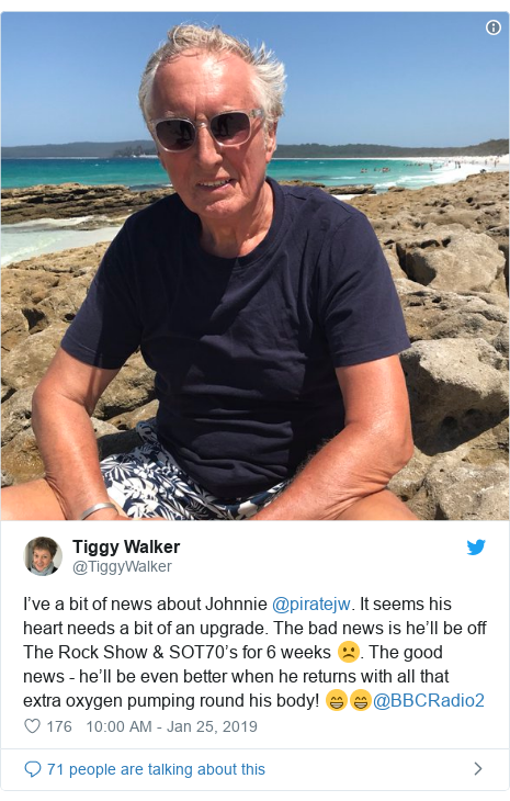 Twitter post by @TiggyWalker: I've a bit of news about Johnnie @piratejw. It seems his heart needs a bit of an upgrade. The bad news is he'll be off The Rock Show & SOT70's for 6 weeks ☹️. The good news - he'll be even better when he returns with all that extra oxygen pumping round his body! 😁😁@BBCRadio2