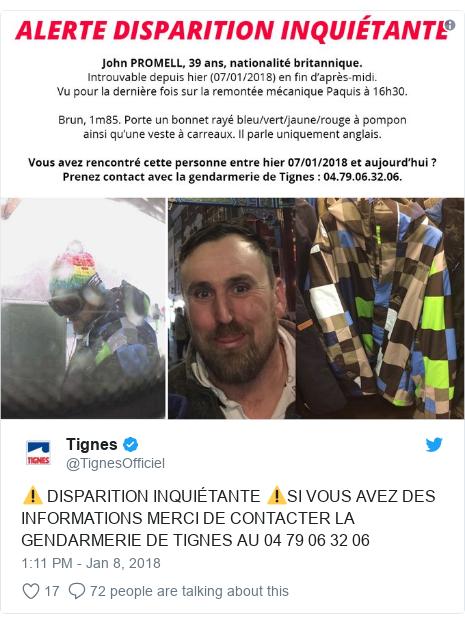 Twitter post by @TignesOfficiel: ⚠️ DISPARITION INQUIÉTANTE ⚠️SI VOUS AVEZ DES INFORMATIONS MERCI DE CONTACTER LA GENDARMERIE DE TIGNES AU 04 79 06 32 06