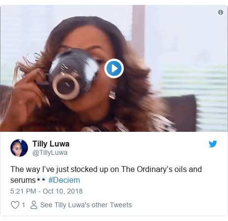 Twitter post by @TillyLuwa: The way I've just stocked up on The Ordinary's oils and serums👀 #Deciem
