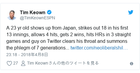 Twitter post by @TimKeownESPN: A 23 yr old shows up from Japan, strikes out 18 in his first 13 innings, allows 4 hits, gets 2 wins, hits HRs in 3 straight games and guy on Twitter clears his throat and summons the phlegm of 7 generations...