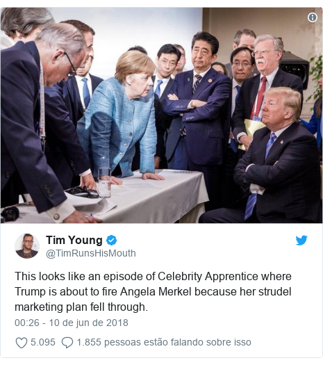 Twitter post de @TimRunsHisMouth: This looks like an episode of Celebrity Apprentice where Trump is about to fire Angela Merkel because her strudel marketing plan fell through.