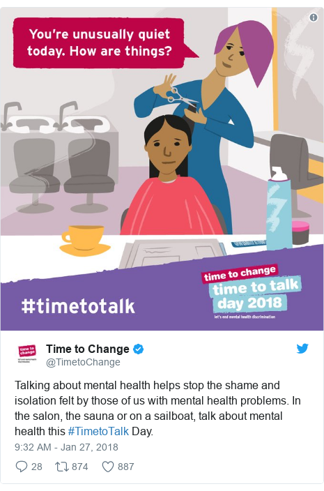 Twitter post by @TimetoChange: Talking about mental health helps stop the shame and isolation felt by those of us with mental health problems. In the salon, the sauna or on a sailboat, talk about mental health this #TimetoTalk Day.