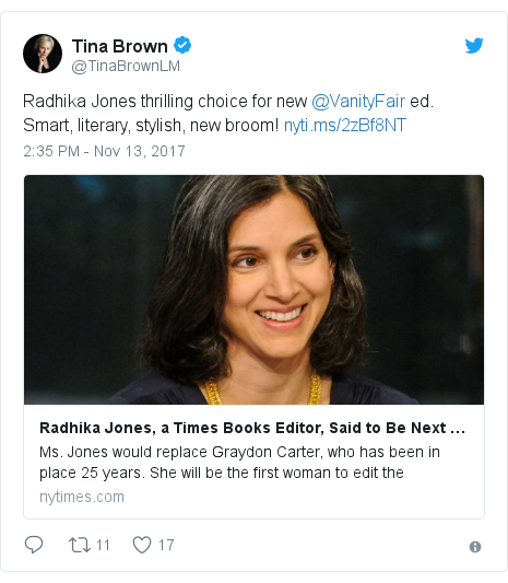 Twitter post by @TinaBrownLM: Radhika Jones thrilling choice for new @VanityFair ed. Smart, literary, stylish, new broom!