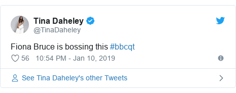Twitter post by @TinaDaheley: Fiona Bruce is bossing this #bbcqt