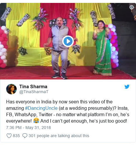 Twitter post by @TinaSharmaT: Has everyone in India by now seen this video of the amazing #DancingUncle (at a wedding presumably)? Insta, FB, WhatsApp, Twitter - no matter what platform I'm on, he's everywhere! 😂 And I can't get enough, he's just too good!