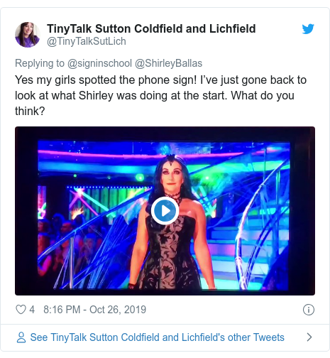 Twitter post by @TinyTalkSutLich: Yes my girls spotted the phone sign! I've just gone back to look at what Shirley was doing at the start. What do you think?