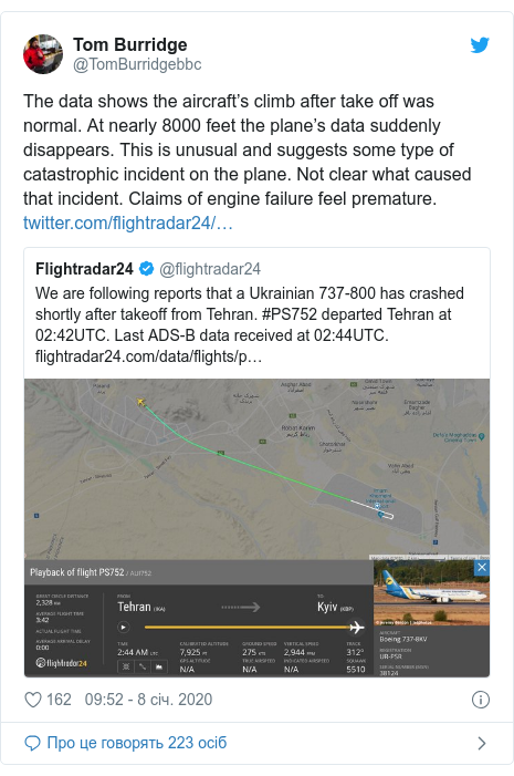 Twitter допис, автор: @TomBurridgebbc: The data shows the aircraft's climb after take off was normal. At nearly 8000 feet the plane's data suddenly disappears. This is unusual and suggests some type of catastrophic incident on the plane. Not clear what caused that incident. Claims of engine failure feel premature.
