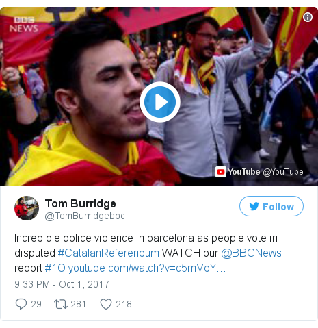 Twitter post by @TomBurridgebbc: Incredible police violence in barcelona as people vote in disputed #CatalanReferendum WATCH our @BBCNews report #1O
