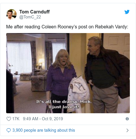 Twitter post by @TomC_22: Me after reading Coleen Rooney's post on Rebekah Vardy