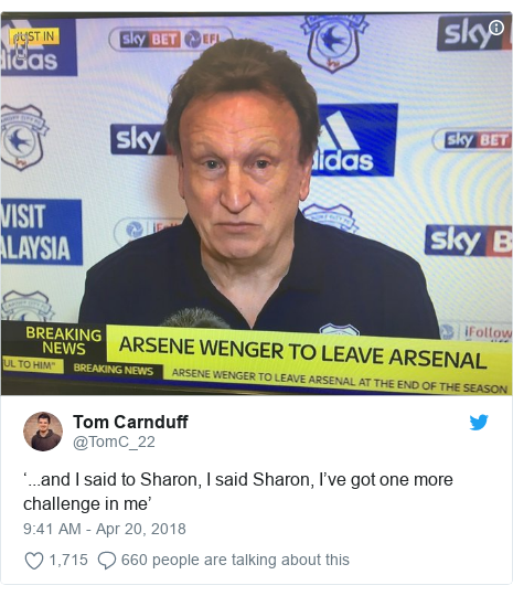 Twitter post by @TomC_22: '...and I said to Sharon, I said Sharon, I've got one more challenge in me'