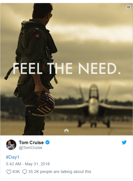 Twitter post by @TomCruise: #Day1