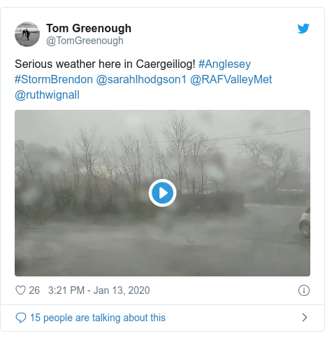 Twitter post by @TomGreenough: Serious weather here in Caergeiliog! #Anglesey #StormBrendon @sarahlhodgson1 @RAFValleyMet @ruthwignall
