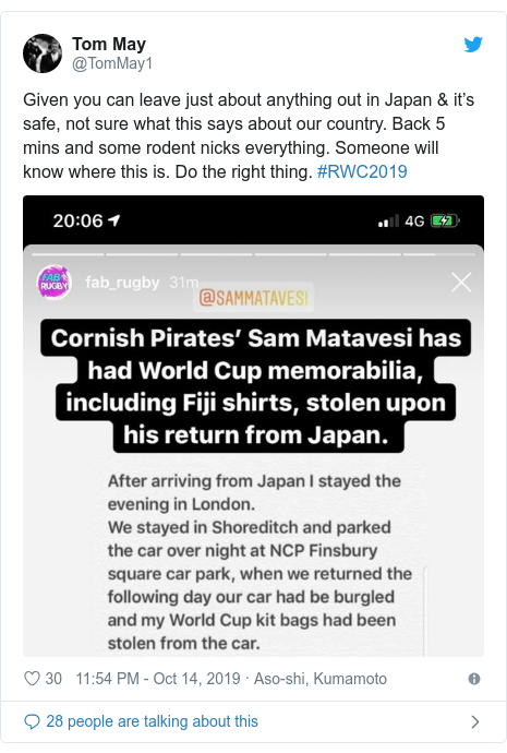 Twitter post by @TomMay1: Given you can leave just about anything out in Japan & it's safe, not sure what this says about our country. Back 5 mins and some rodent nicks everything. Someone will know where this is. Do the right thing. #RWC2019