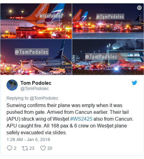 Twitter post by @TomPodolec: Sunwing confirms their plane was empty when it was pushed from gate. Arrived from Cancun earlier. Their tail (APU) struck wing of Westjet #WS2425 also from Cancun. APU caught fire. All 168 pax & 6 crew on Westjet plane safely evacuated via slides.