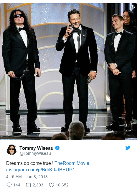 Twitter post by @TommyWiseau: Dreams do come true !