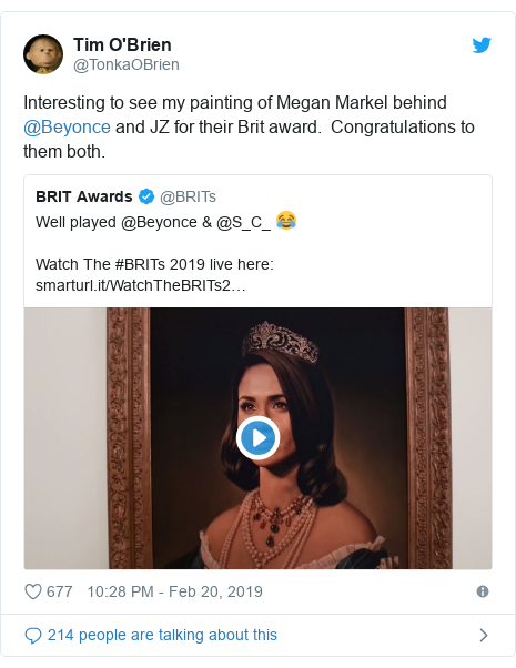 Twitter post by @TonkaOBrien: Interesting to see my painting of Megan Markel behind @Beyonce and JZ for their Brit award.  Congratulations to them both.