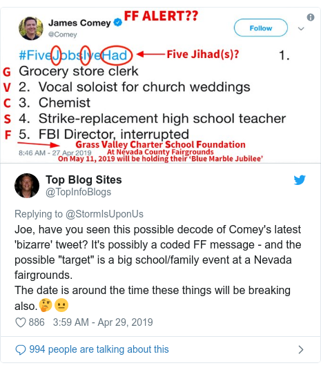 Twitter post by @TopInfoBlogs: Joe, have you seen this possible decode of Comey's latest 'bizarre' tweet? It's possibly a coded FF message - and the possible