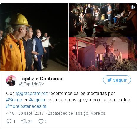 Publicación de Twitter por @TopiltzinCM: Con @gracoramirez recorremos calles afectadas por #Sismo en #Jojutla continuaremos apoyando a la comunidad  #morelostenecesita pic.twitter.com/NHWaLQEni3