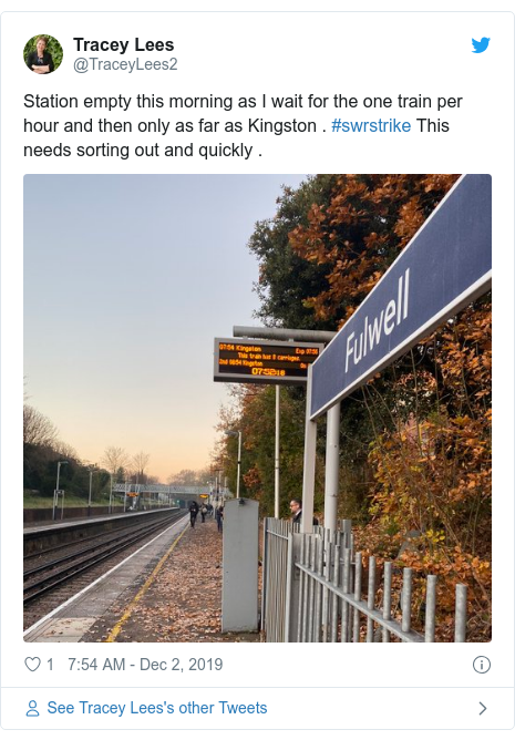 Twitter post by @TraceyLees2: Station empty this morning as I wait for the one train per hour and then only as far as Kingston . #swrstrike This needs sorting out and quickly .